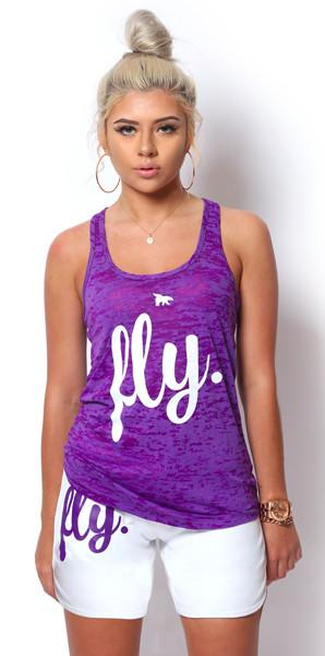 FLY. Burnout Tank & Boyfriend Shorts Outfit - Purple/White