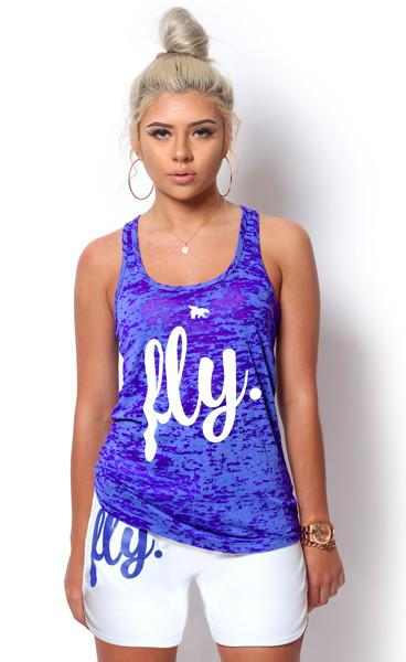 FLY. Burnout Tank & Boyfriend Shorts Outfit - Royal/White