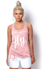 FLY. Tank - Burnout Light Pink/White