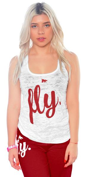FLY. Burnout Tank: White/Maroon