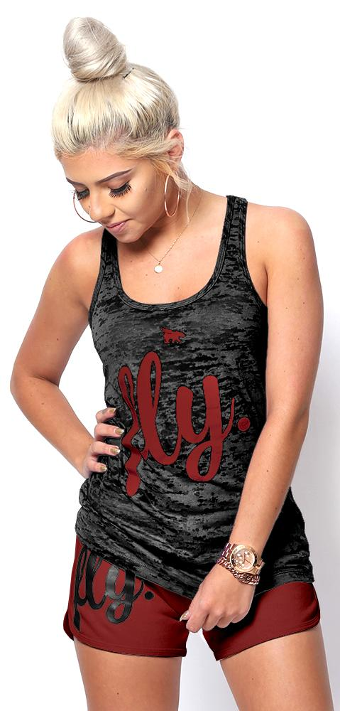 FLY. Burnout Tank & Boyfriend Shorts Outfit - Black/Maroon