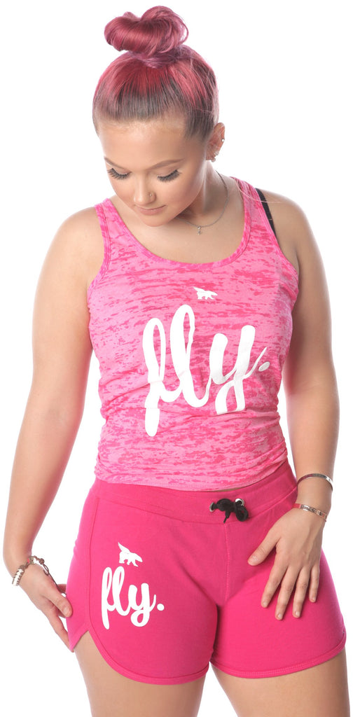 FLY. Burnout Tank & Boyfriend Shorts Outfit - Pink