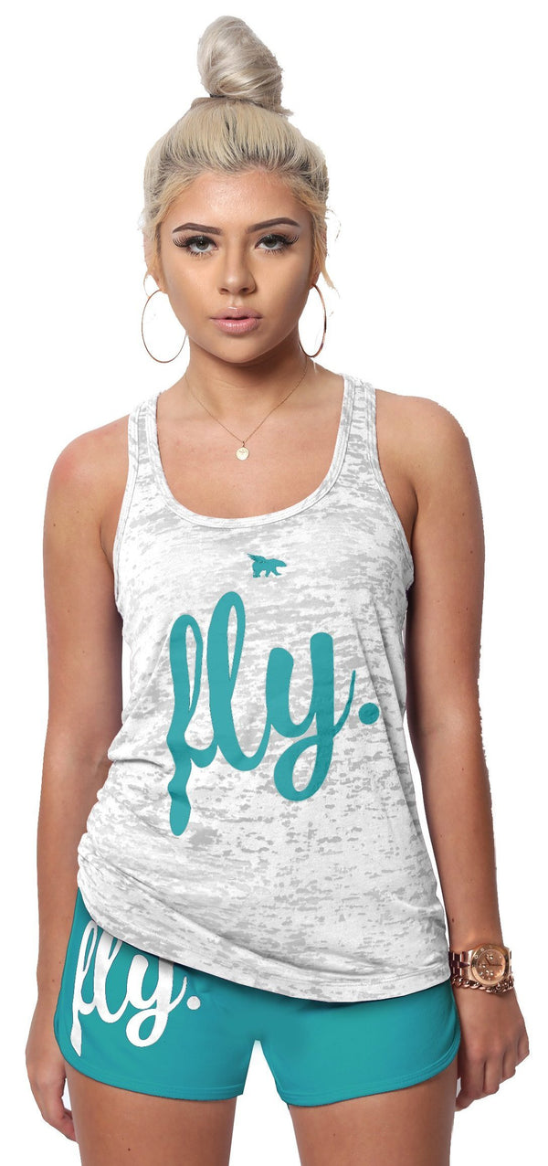 FLY. Burnout Tank & Boyfriend Shorts Outfit - White/Teal