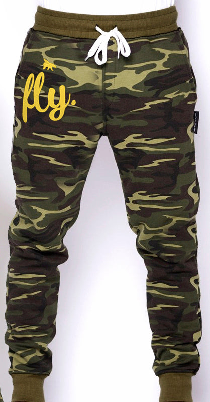 ***PLUS SIZES ONLY*** FLY Camo Joggers (Gold Print)