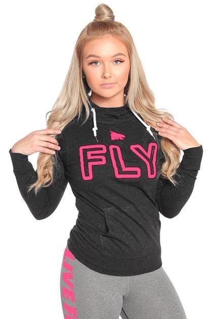 FLY Funnel Neck Campus Hoodie Tee: Black/Pink