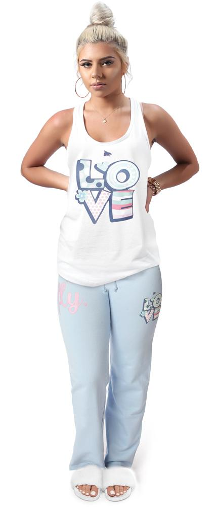 LOVE MYSELF All Day TANK/PANTS Outfit: White/Sky Blue Combo