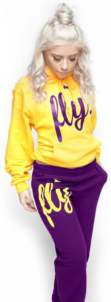 FLY. Comfort Hoodie Outfit: Gold/Purple (NON-POCKETED) (UNISEX FIT)