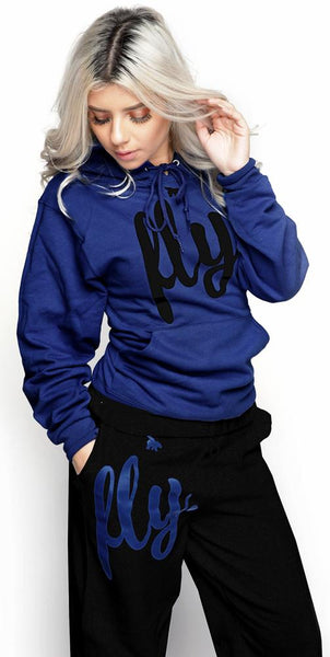 FLY. Comfort Hoodie Outfit: Navy/Black (UNISEX FIT)