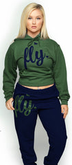 FLY. Comfort Hoodie Outfit: Olive/Navy (UNISEX FIT)