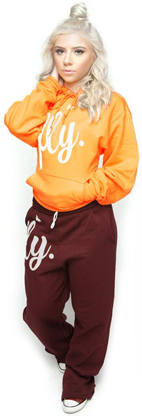 FLY. Comfort Hoodie Outfit: Orange/Maroon (UNISEX FIT)