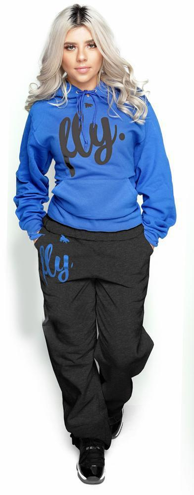 FLY. Comfort Sweats: Royal Hoodie/Dark Grey Pants (UNISEX FIT)