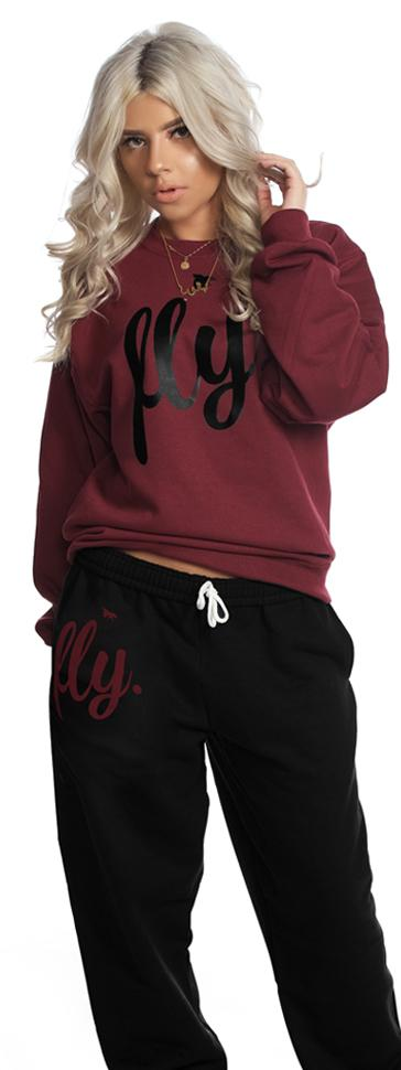 LIMITED SUPPLY CLASSIC Comfort Crewneck Outfit: MAROON/BLACK (UNISEX FIT)