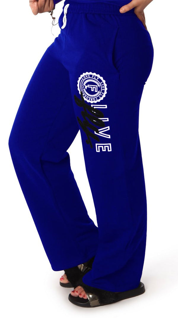 LIVE FLY. Collegiate Sweatpants: ROYAL