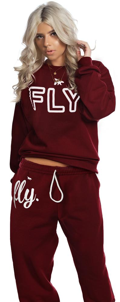 Collegiate Crew Lounging Outfit: Maroon (UNISEX FIT)