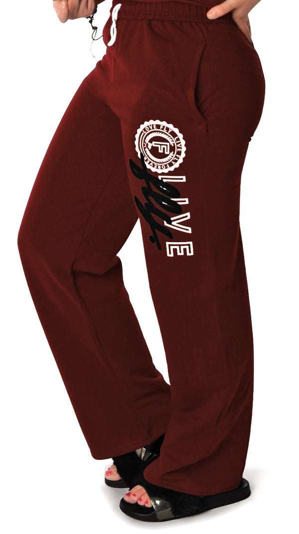 LIVE FLY. Collegiate Sweatpants: MAROON
