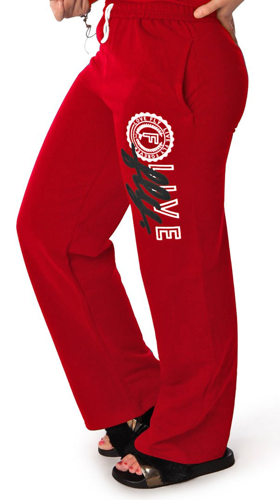 LIVE FLY. Collegiate Sweatpants: RED