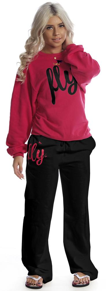 LIMITED SUPPLY CLASSIC Comfort Crewneck Outfit: PINK/BLACK PANTS (UNISEX FIT)