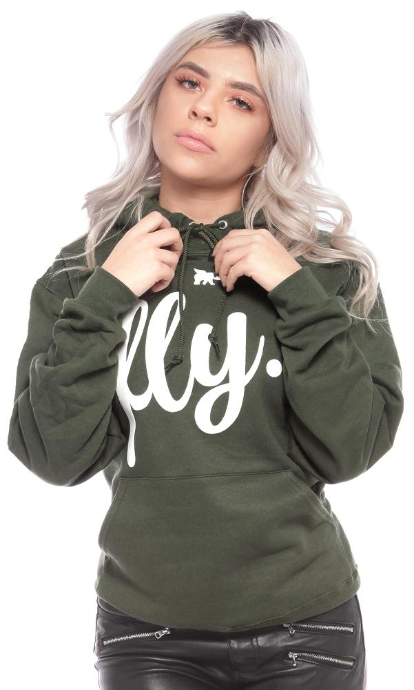 FLY. Olive Hoodie w/ White Print (UNISEX FIT)