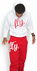 FLY. White Hoodie/Red Pants Sweatsuit (UNISEX FIT)