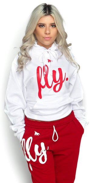 FLY. White Hoodie/Red Pants Sweatsuit (UNISEX FIT) w