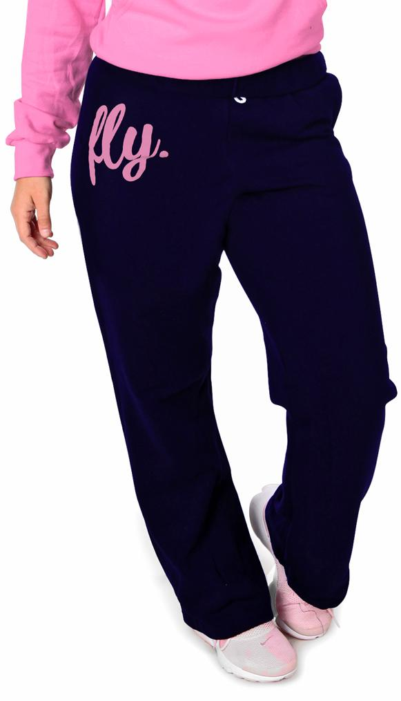 FLY. COMFORT Sweatpants: Navy w/Pink Print (UNISEX FIT)