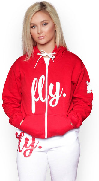 FOREVER LIVE FLY. ZIP-UP HOODIE/SWEATPANTS OUTFIT: RED/WHITE