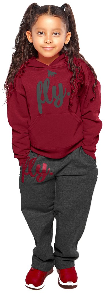 FLY. KIDS Comfort Outfit: Maroon/Dark Grey