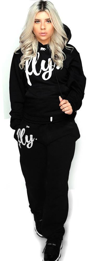 *LIMITED* FLY. Comfort Hoodie Outfit: ALL Black/White Print