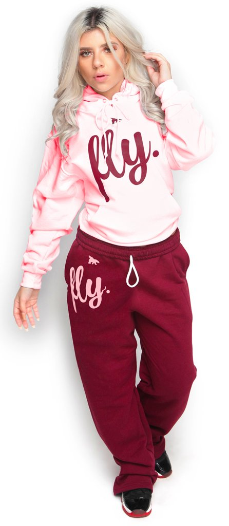*LIMITED* FLY. Comfort Hoodie Outfit: Light Pink/Maroon