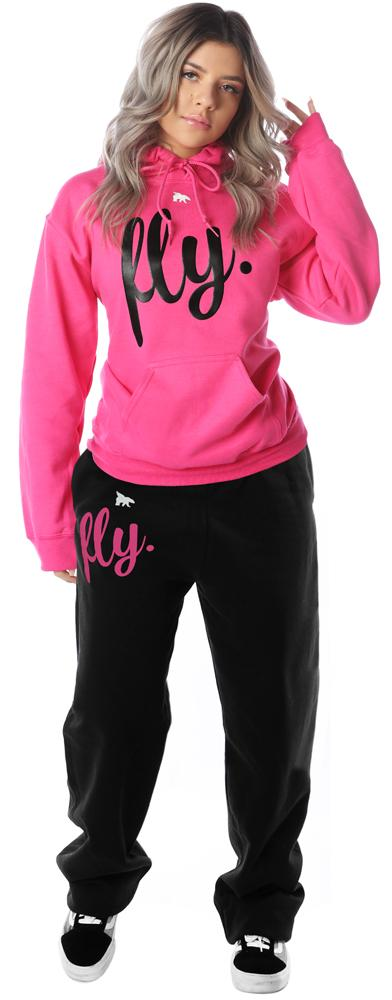 FLY. Comfort REMIXED Outfit: Pink Hoodie/Black Pants