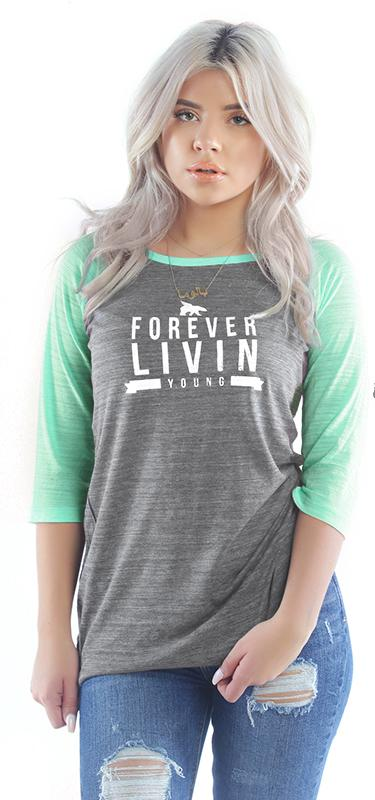 FOREVER LIVIN FLY. WOMENS RAGLAN: LIME/GREY