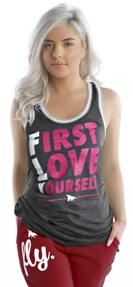 FIRST LOVE YOURSELF Slouchy Sports TANK: Charcoal