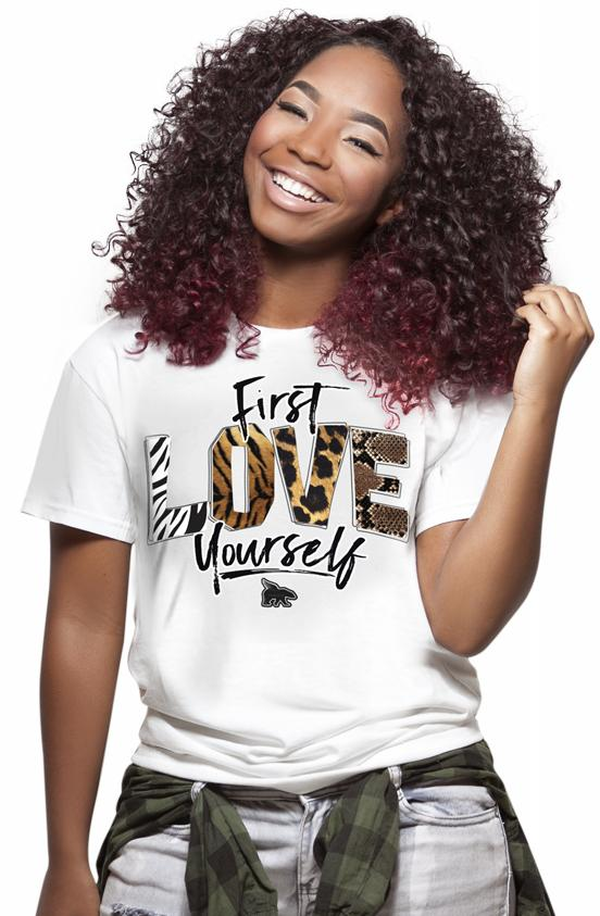 First Love Yourself Animals Print Tee: White