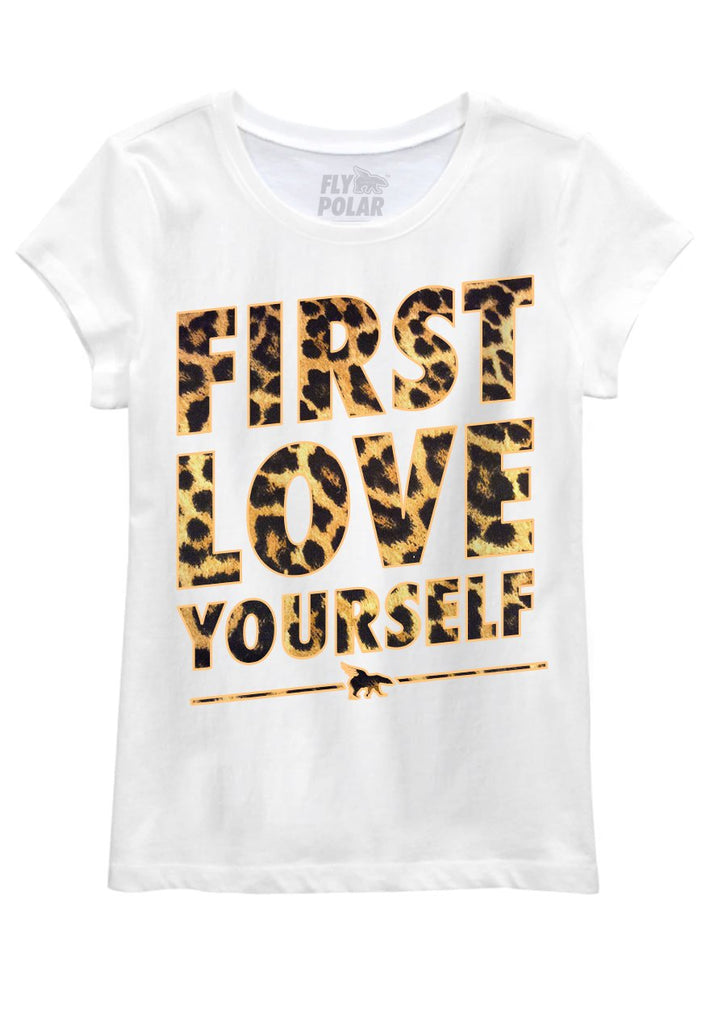 First Love Yourself Leopard Youth Tee: White