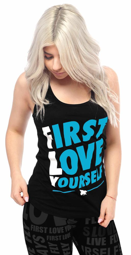 First Love Yourself ALL DAY Tank: Black/White/Cali Blue
