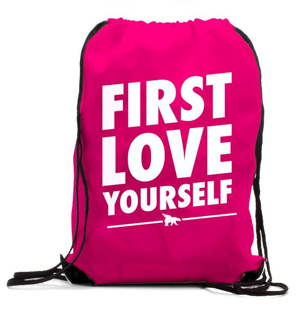 FIRST LOVE YOURSELF CLASSIC Drawstring BackPack: Pink