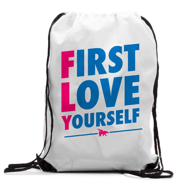 FIRST LOVE YOURSELF CLASSIC Drawstring BackPack: White
