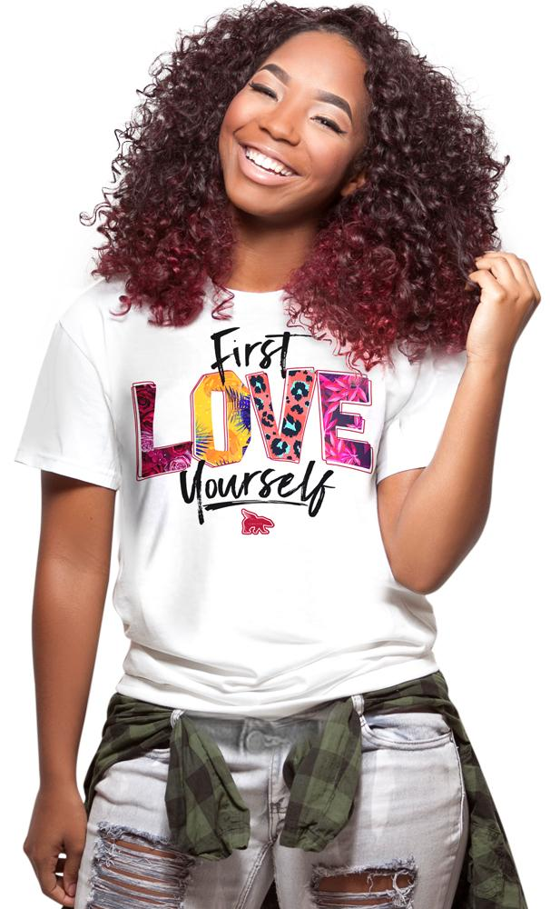 First Love Yourself Pattern Tee: White