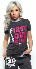 FLY. - First Love Yourself tee: Dark Grey