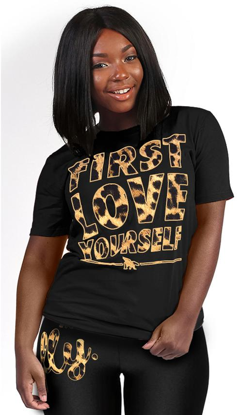 FLY. - First Love Yourself Leopard Tee: Black