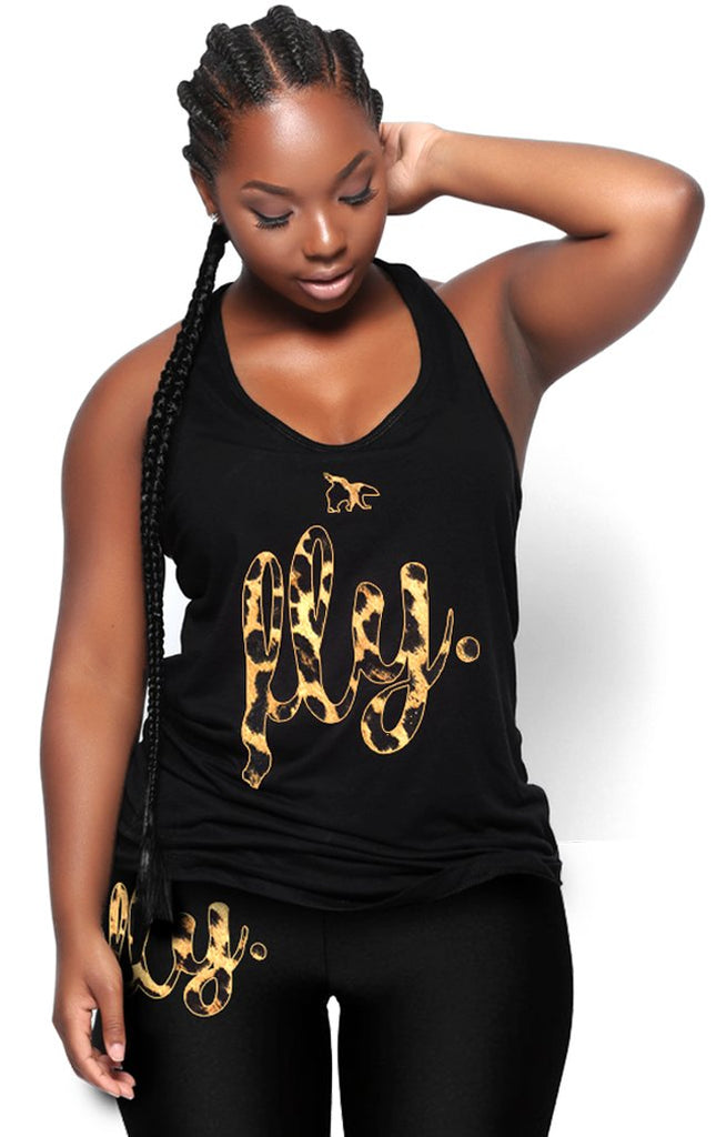 Fly. Branded Leopard Tank: Black