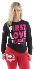 FLY. - First Love Yourself Long-Sleeve Tee: Black