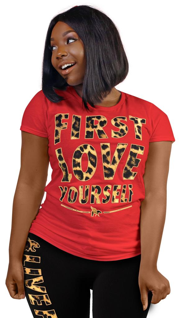 FLY. - First Love Yourself Red Leopard Tee