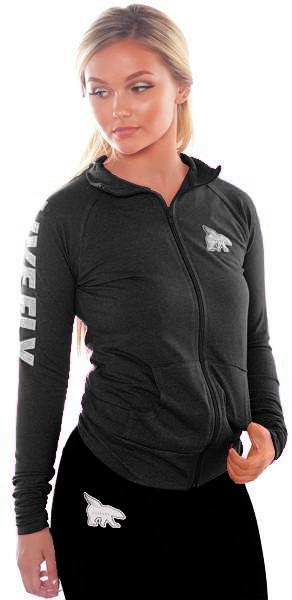 PLUS SIZES LIVE FLY. Fitted Spirit Zip-Up Jacket: Charcoal Black