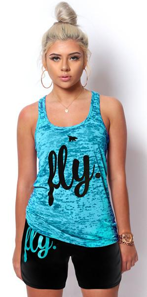 FLY. Burnout Tank & Boyfriend Shorts Outfit - Cali Blue/Black