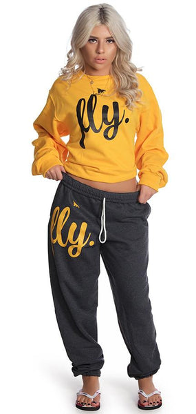 FLY. Comfort Crewneck Outfit: Gold/Dark Grey (UNISEX FIT)