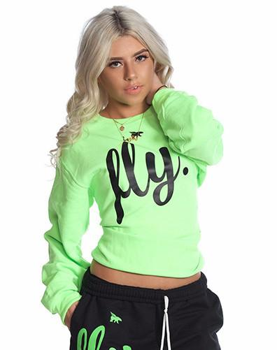 FLY. Comfort Crewneck: LIME/BLACK (UNISEX FIT)