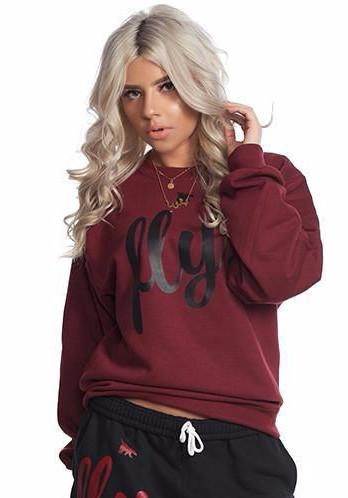 FLY. Crewneck: Maroon/Black Print (UNISEX FIT)