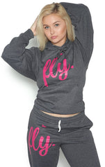 FLY. Comfort Outfit: Dark Grey/Pink Print (UNISEX FIT)