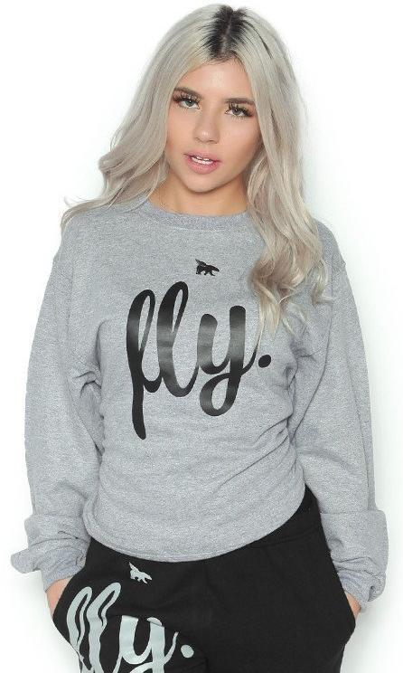 FLY. CREWNECK: GREY (UNISEX FIT)